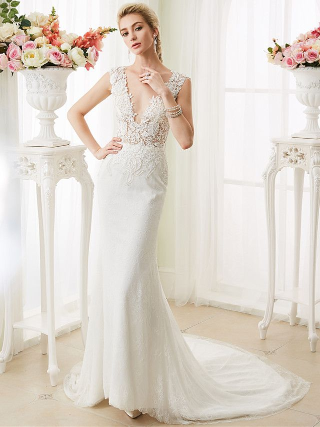 8be13bbcbea Mermaid   Trumpet Plunging Neckline Court Train Lace Wedding Dress with  Pearl Appliques by LAN TING