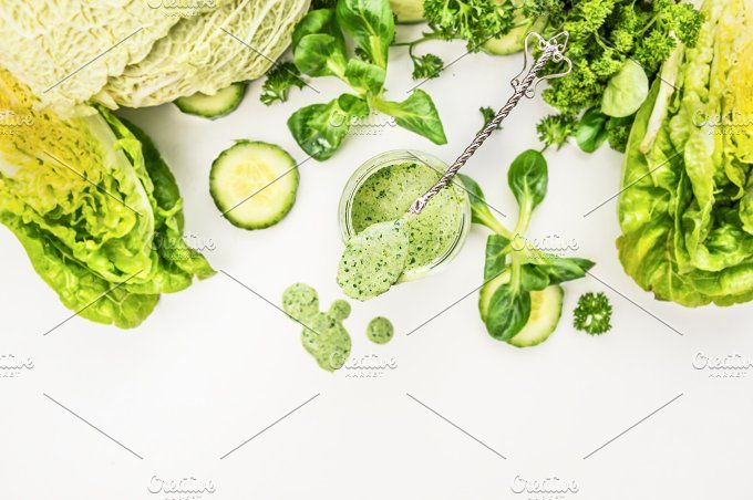 Smoothie with green vegetables by VICUSCHKA on @creativemarket