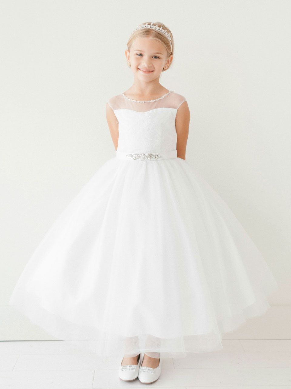8ba5bd998 Girls Dress Style 5712 - Lace Dress with Sheer Illusion Neckline in Choice  of Color This