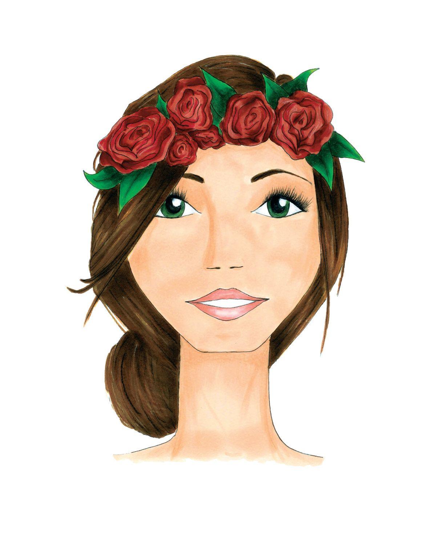 Flower Crown Fashion Illustration Print