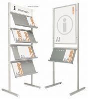 Expositores de información.  Expositores compuestos por 2 perfiles elípticos  verticales de aluminio en plata mate, con estantes  metálicos pintados en color gris. Ideal para catálogos  y revistas en formato DIN A4. Los estantes pueden  situarse en uno o en ambos lados. mobiofic.com