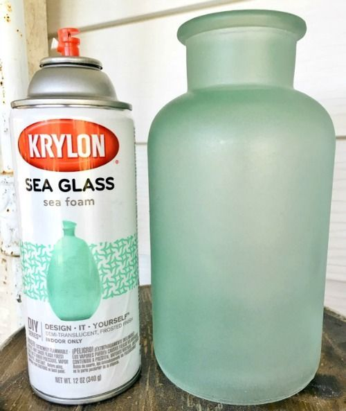 Glass Paint -Spray or Brush to Give Bottles, Vases & Jars the Frosted Seaglass Look