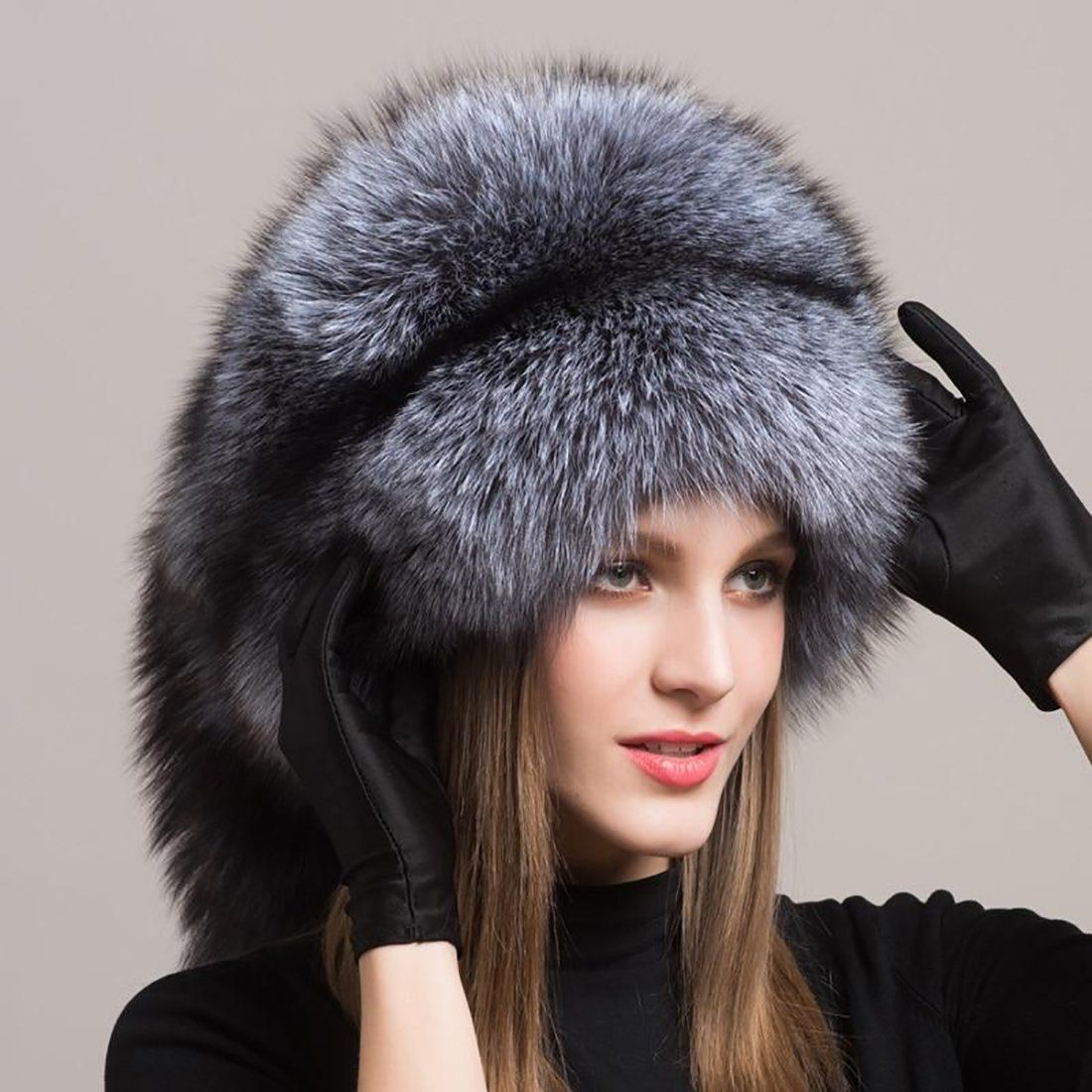 Womens Winter Warm Ear Cap Soft Real Fox Fur Russian Ushanka Hat Whole Caps