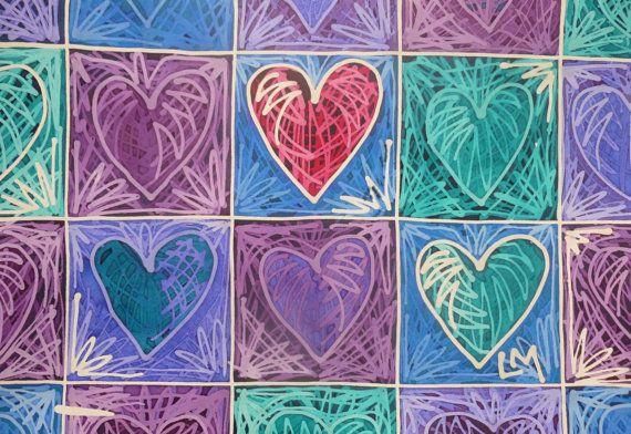 Feel The Love X   Contemporary Batik wax resist by missmacdesigns, £40.00