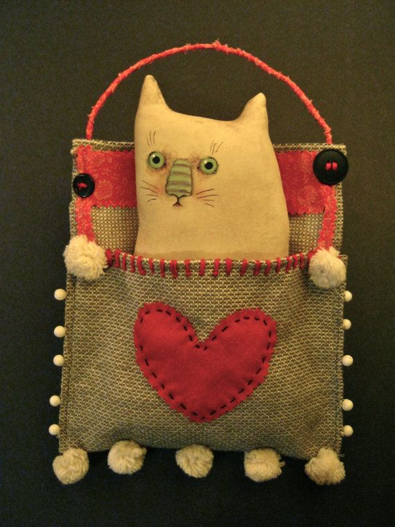 white cat in a pocket , sandy mastroni, cat art doll , valentine cat, heart , fabric stitched pocket , sweet cat