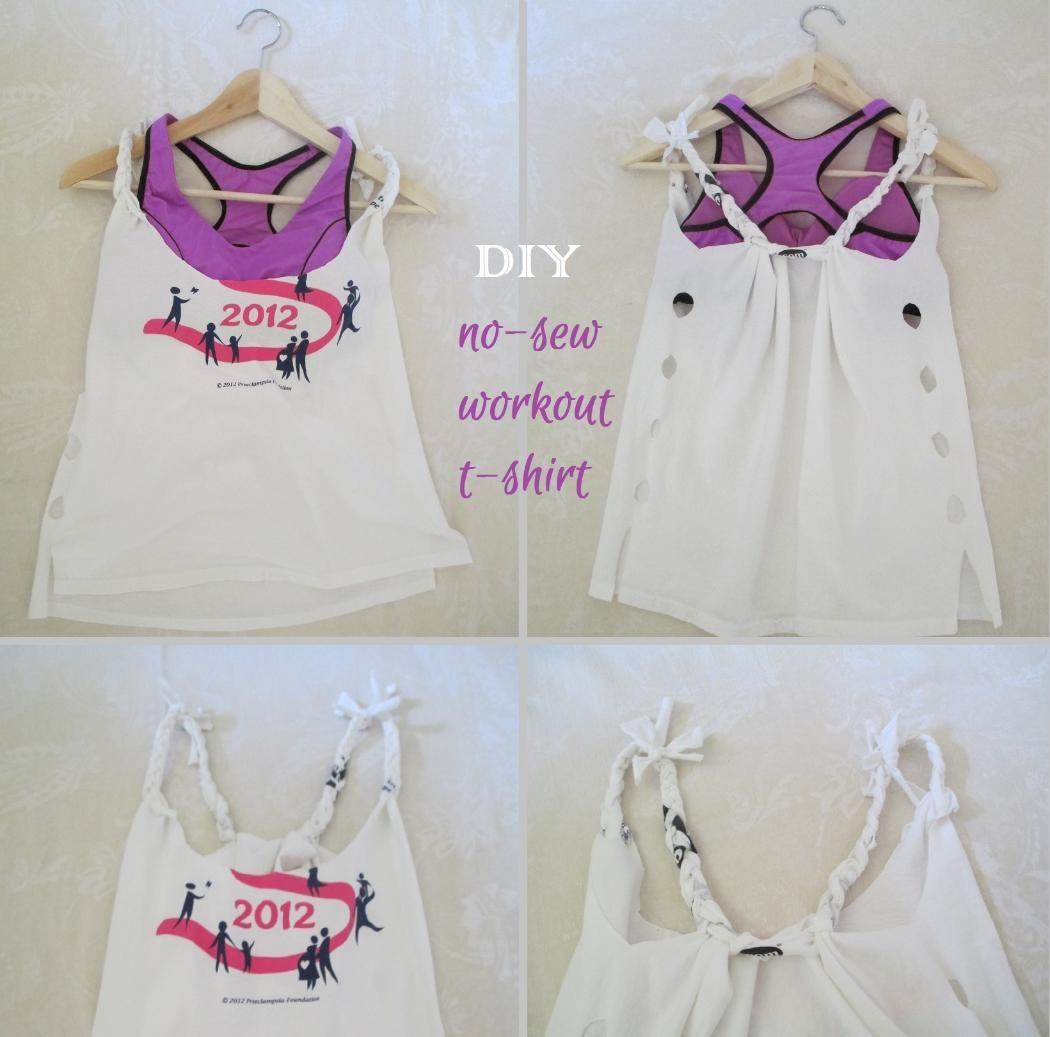 DIY No-Sew Workout T-Shirt | Diy summer clothes, Diy ...