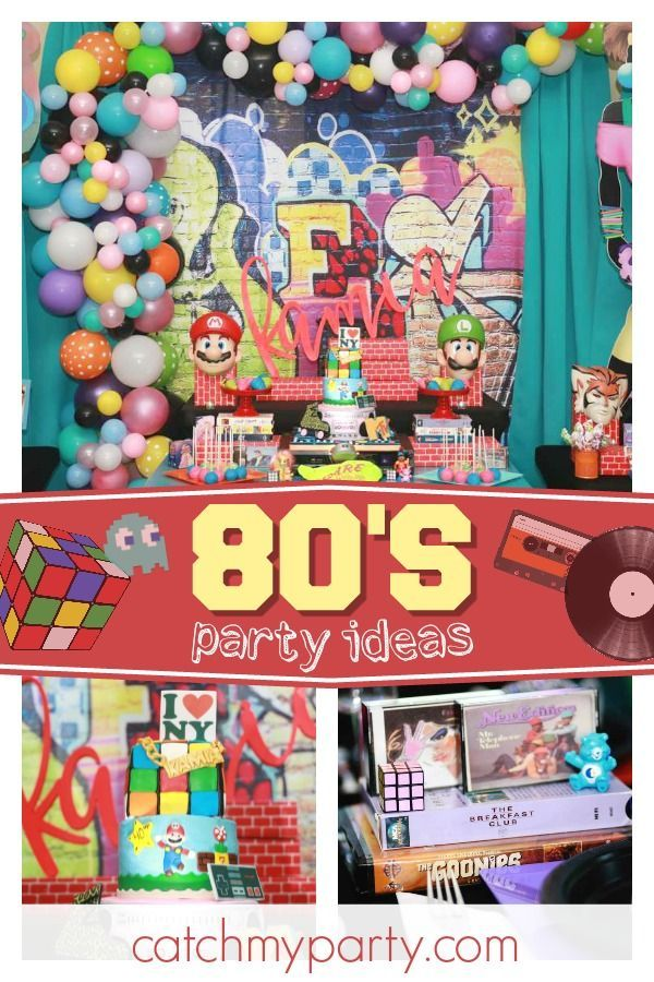 How cool is this 80u0027s themed 40th