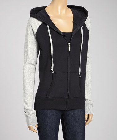 Look what I found on #zulily! Black & Gray Hooded Raglan Zip-Up Jacket by Zenana #zulilyfinds