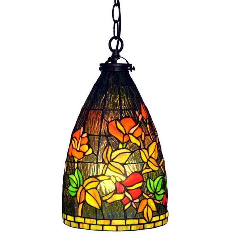 8 Inch Pendant Light Stained Glass Lamp Hanging Warm ShadeDining Room Lighting
