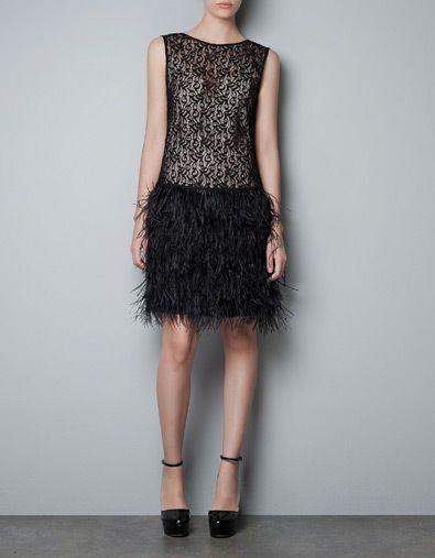706819970f44c ZARA Black 1920s Flapper Charleston Feather Gatsby Dress Size XS     RARE