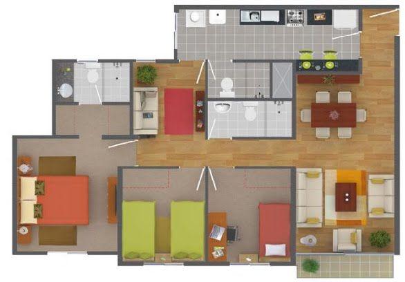 Plano de departamento de 90 metros cuadrados con 3 for Distribucion departamentos modernos