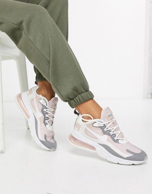 Mujer joven llamada Puñalada  Nike Air Max 270 React Pink And Grey Trainers | ASOS | Nike air max,  Sneakers nike air max, Nike air shoes