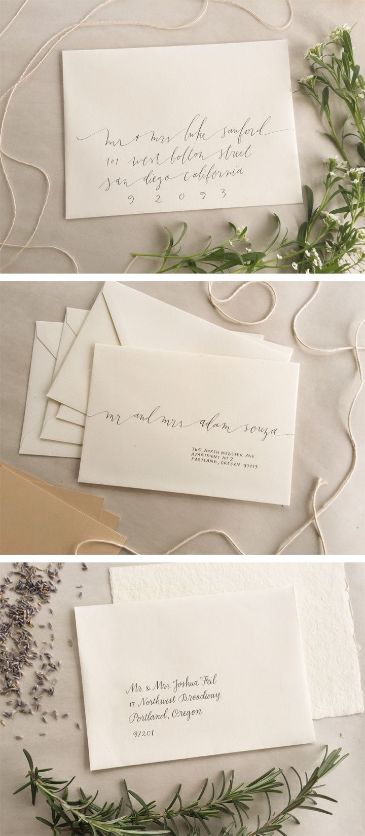 PALOMINO contemporary calligraphy envelope addressing PALOMINO