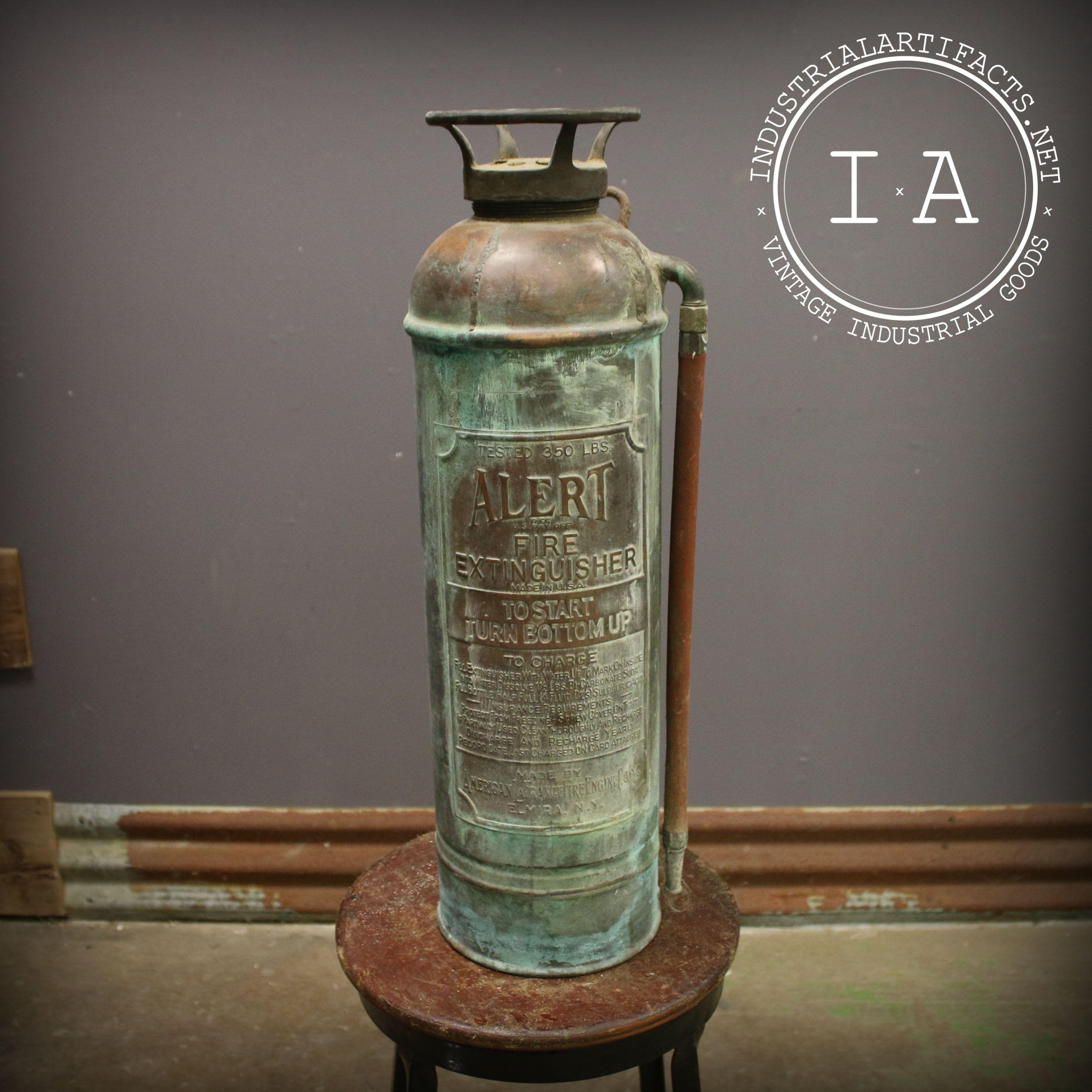 Vintage Industrial Alert Brass Fire Extinguisher i 2020