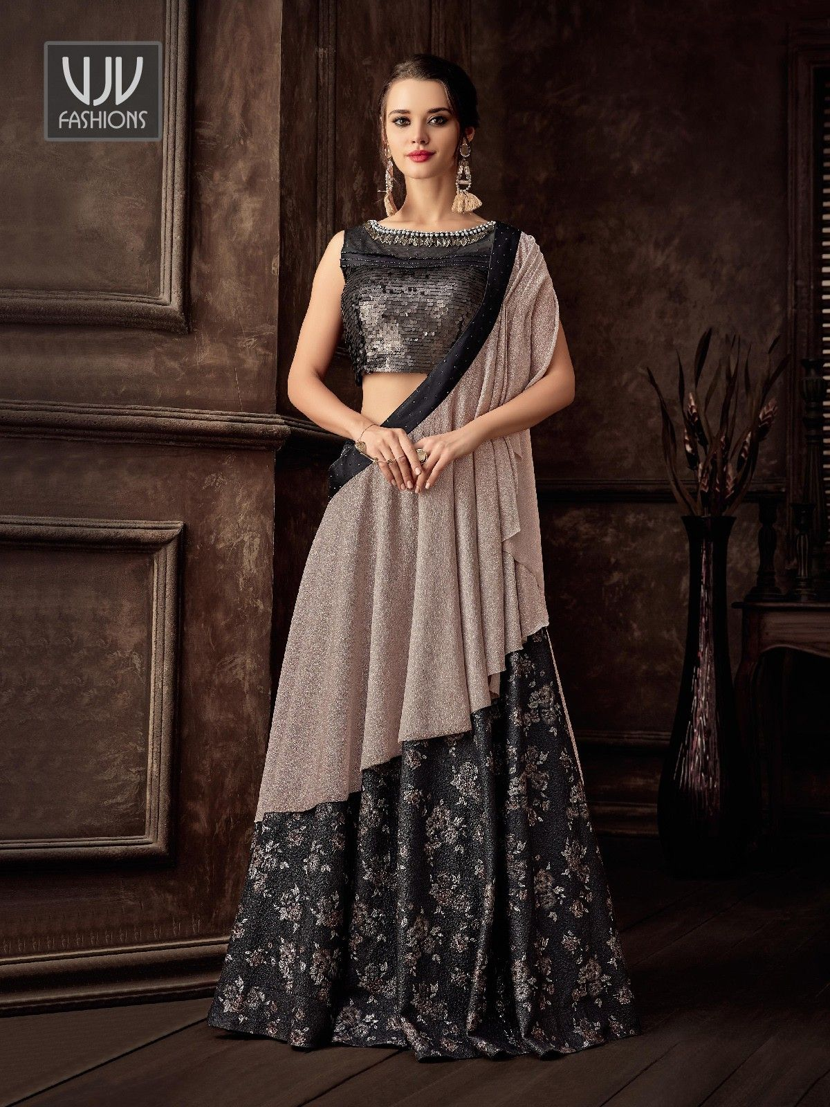 Charming Black Color Jacquard Lehenga Style Saree in 2020 | Lehenga style saree, Lehenga style ...