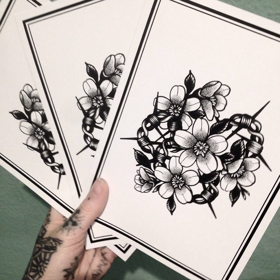 barbwire dotwork flower bouquet tattoo blackwork print peony ...
