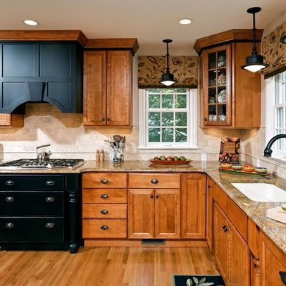 Angled Upper Cabinet Regular Corner Cabinet Below Also Wood Tones Neutral Backsplash And Countertop And Two Kitchen Design Honey Oak Cabinets Oak Kitchen