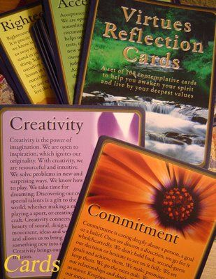 Virtues Reflection Cards from the Virtues Project Inc. Wonderful way to reflect and incorporate the virtues in your life.