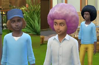 The Sims 4 Big Afro For Small People Children S Hairstyle Both Genders Base Game Natural Hairs Converted For Fe Big Afro Afro Hairstyles Kids Hairstyles