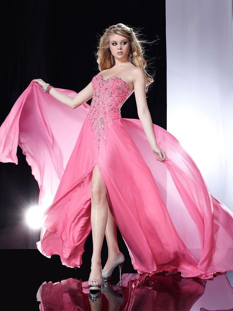 A-line Sweetheart Chiffon Sweep Train Sleeveless Beading Prom ...