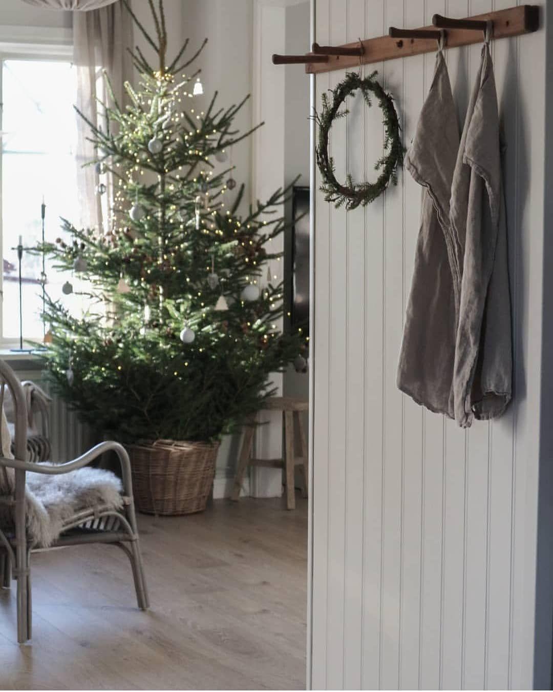"""???????????????????????? Ö???????????????????????? on Instagram: """"{Bild från förra julen} Jag är ju svag för en jul i naturens toner ???????????? Några granar, lite mossa och äpplen, pappersstjärnor, massor av ljus…"""" #julepyntinspiration"""