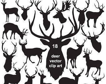 Hert silhouet illustraties hoofd lijn Art overzicht door FishScraps