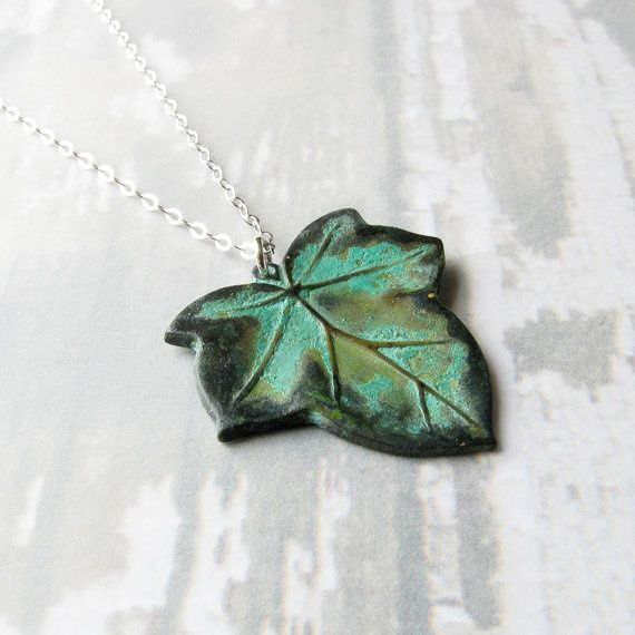Realivyleafjewelry ivy leaf necklace green patina brass charm realivyleafjewelry ivy leaf necklace green patina brass charm on mozeypictures Image collections