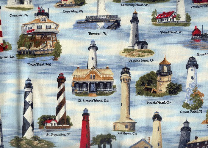 light house quilting material | US Lighthouses FQ fabric