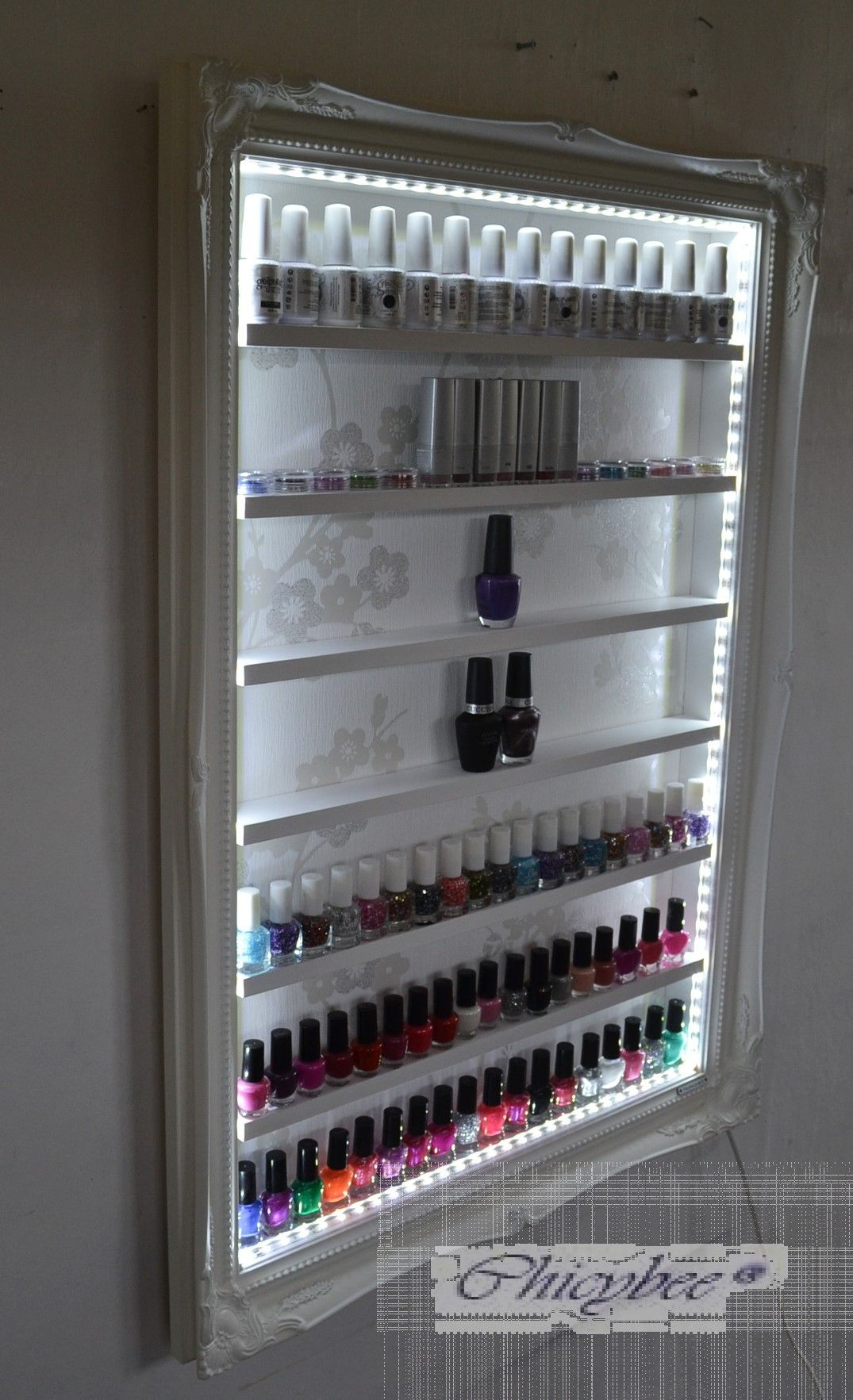Nail Polish Beauty Product Display Rack With Led Lighting