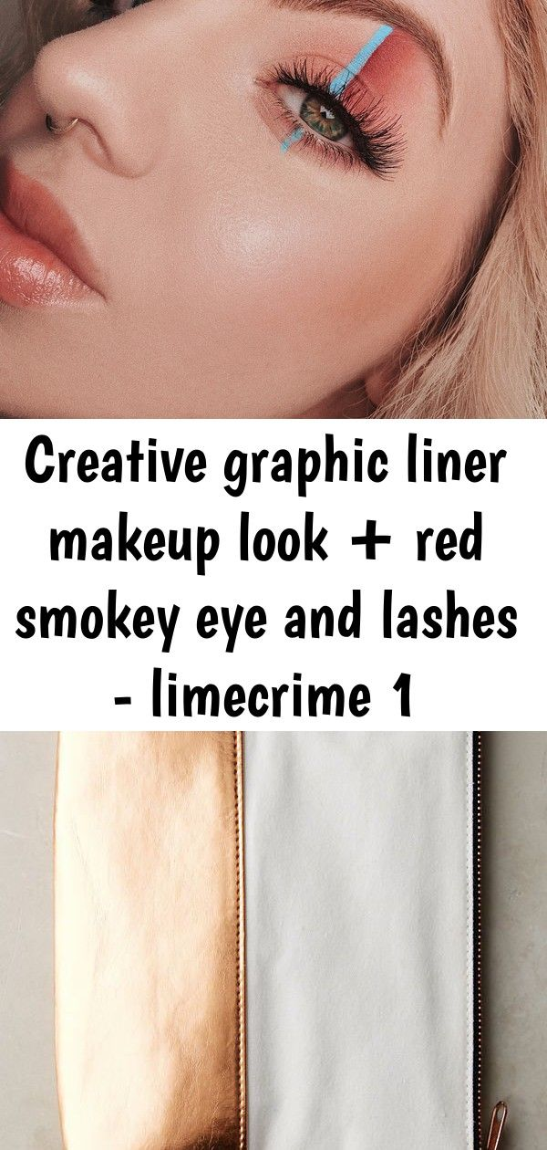 Creative graphic liner makeup look + red smokey eye and lashes - limecrime 1 M.O.T.D. Vegan Eye Makeup Brush Set by M.O.T.D in Black Size: All, at Anthropologie Easy and awesome eye makeup tutorials!