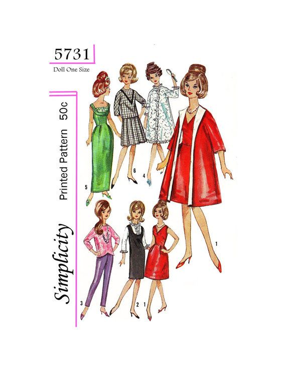 40's 40 4040 Inch Doll Sewing Pattern Simplicity 57340 PDF Fascinating Barbie Doll Patterns