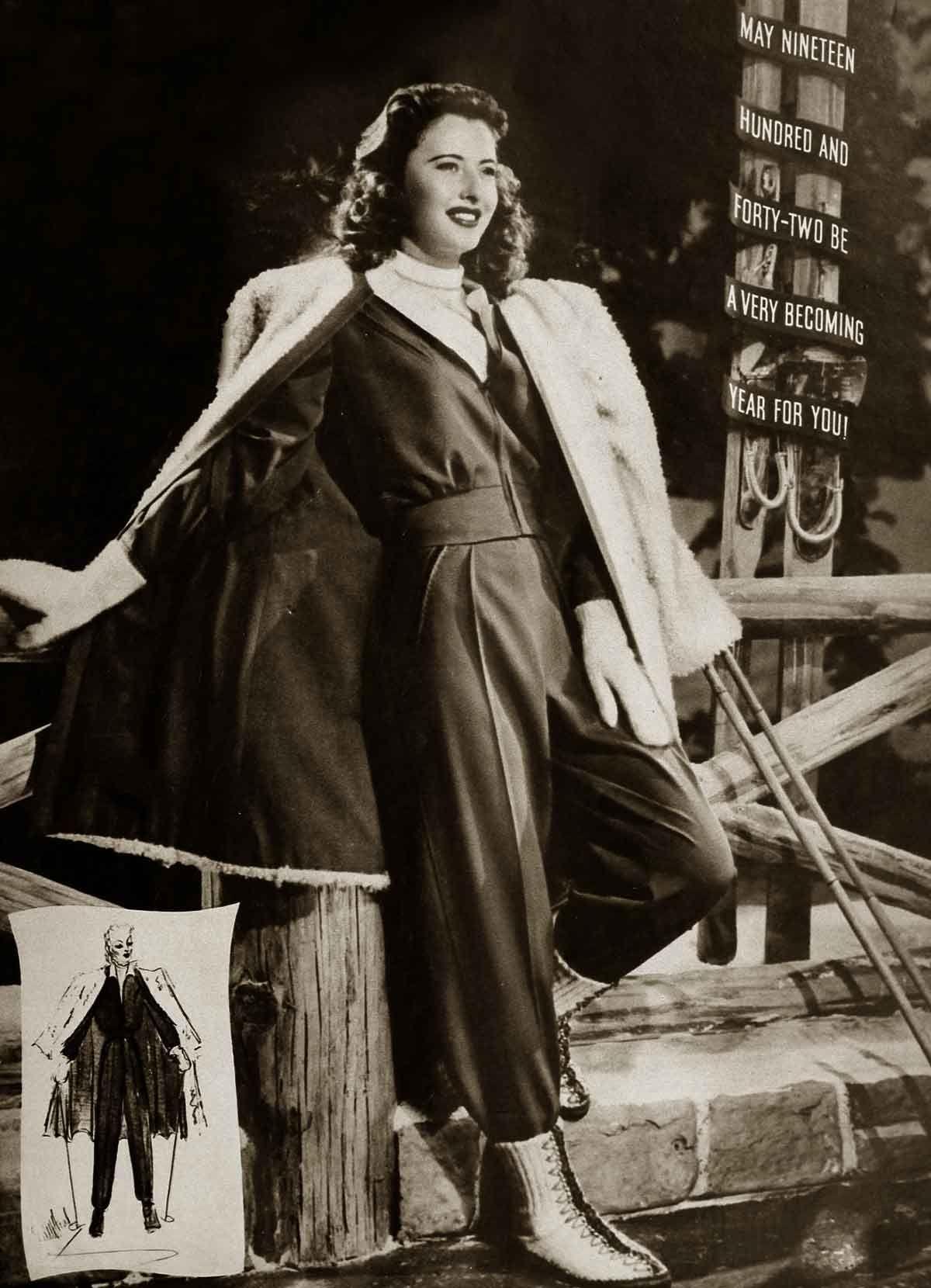 4106b0bece 1940s Winter Fashion - Barbara Stanwyck