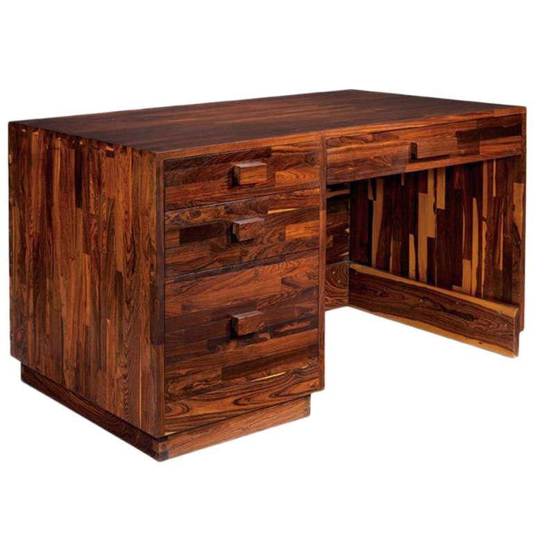 Rare Cocobolo Wood Desk Don Shoemaker Wood Desk Desk Wooden Desk