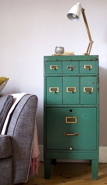 vintage filing cabinet--ooh i want one! So much better looking then ...