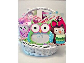 Kidznstyle owl themed baby gift basket for baby girl cute baby kidznstyle owl themed baby gift basket for baby girl negle Image collections