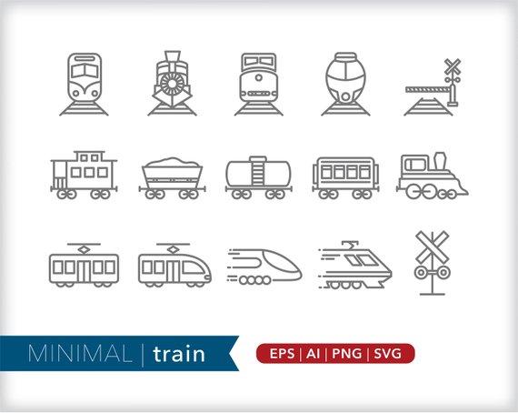Train Icons Transportation Icons Eps Ai Png Digital Etsy Train Tattoo Line Icon Train