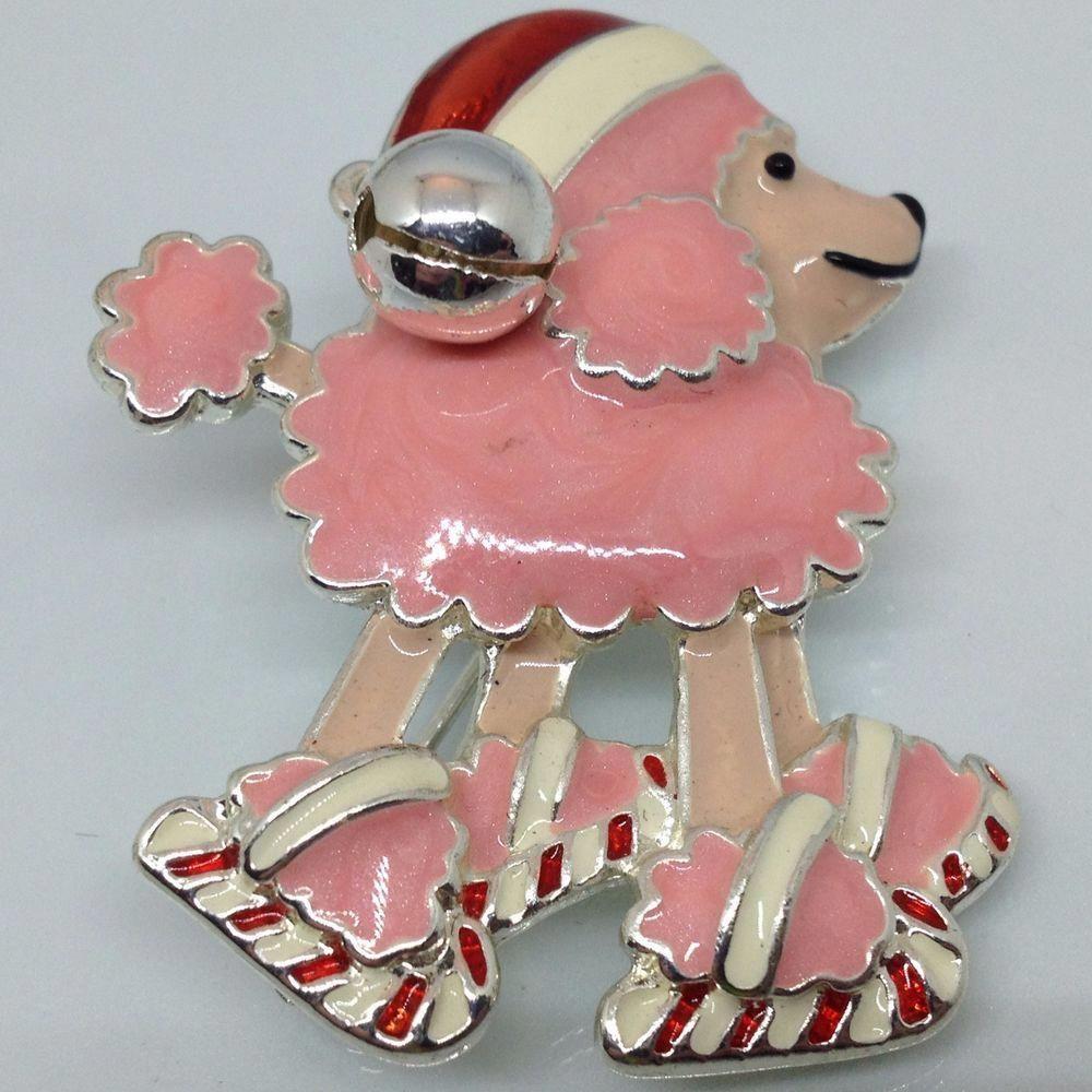 Vintage pink poodle dog on ice skates brooch pin santa hat enamel