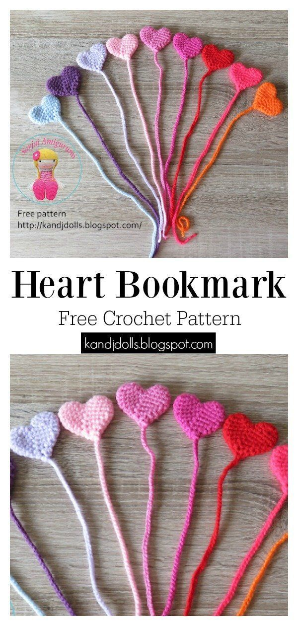 Lovely Heart Bookmark Free Crochet Pattern