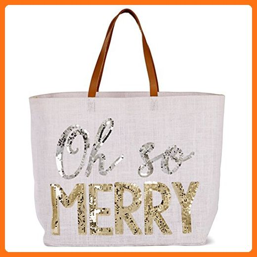 Mud Pie Christmas Dazzle Tote Bag Chimney