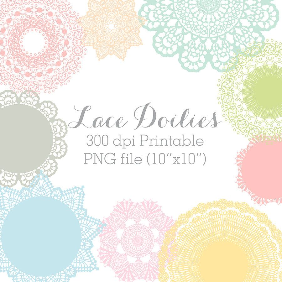 Scrapbook paper lace - Doily Clip Art Printable Colourful Doilies Scrapbook Elements Personal And Commercial Use Set B