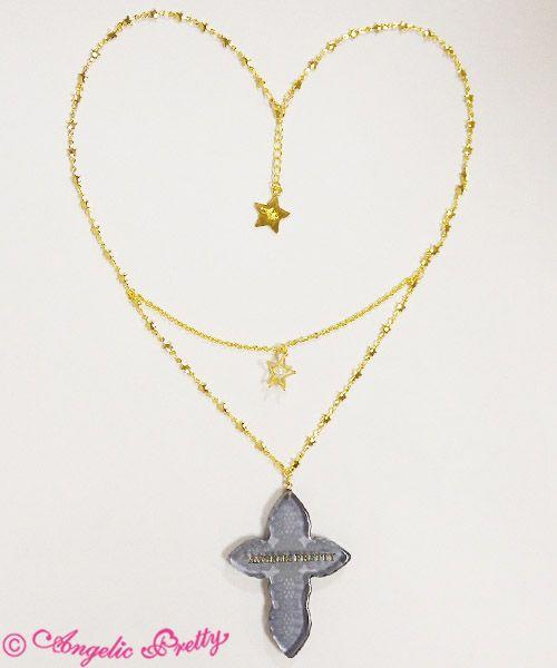 Cecilia Cross Necklace Black