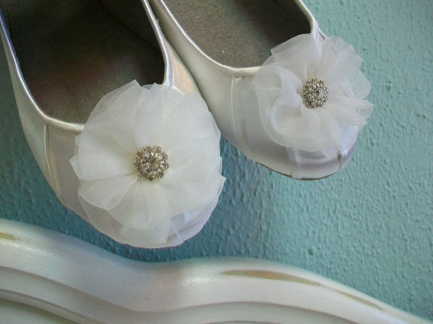 Wedding flats tulle crystals ballet wedding shoes white bridal