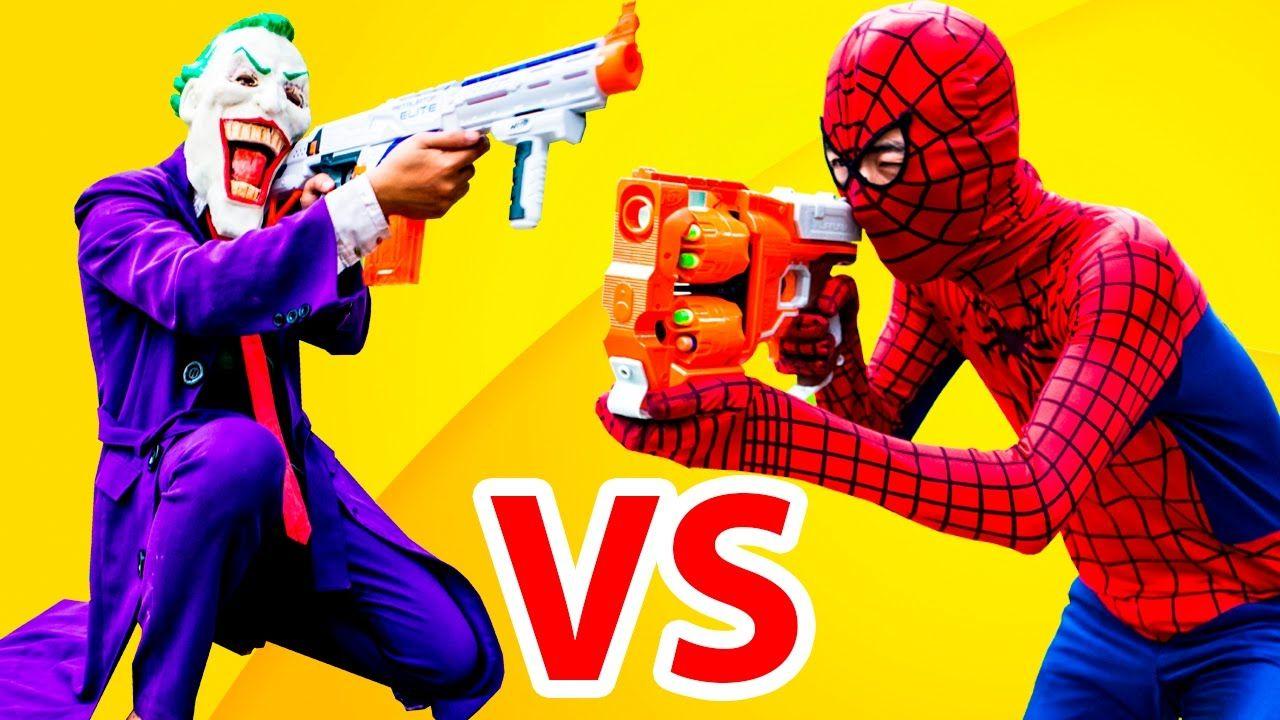 Nerf War Spiderman Gun Joker - Batman vs Superman Deadpool ...