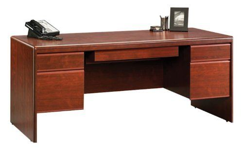Classic Cherry Executive Desk With Laptop Drawer By Sauder By Sauder 678 00 Cord Management System Accommodates Classic Desk Desk Executive Desk