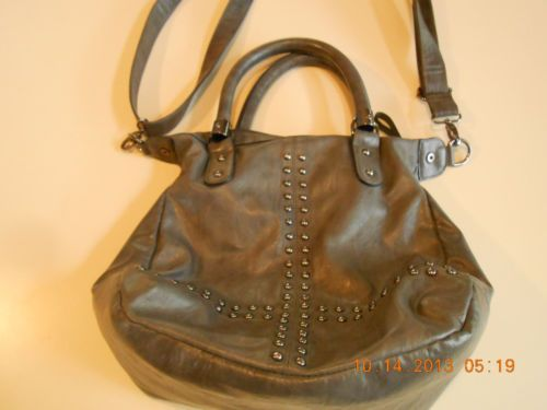 Big Buddha Bag Santa Barbara Gray Gunmetal Colored Studs Detachable Strap | eBay... (this one's a maybe- I'd have to see someone holding it and without long strap to see how wide the top/opening is..)