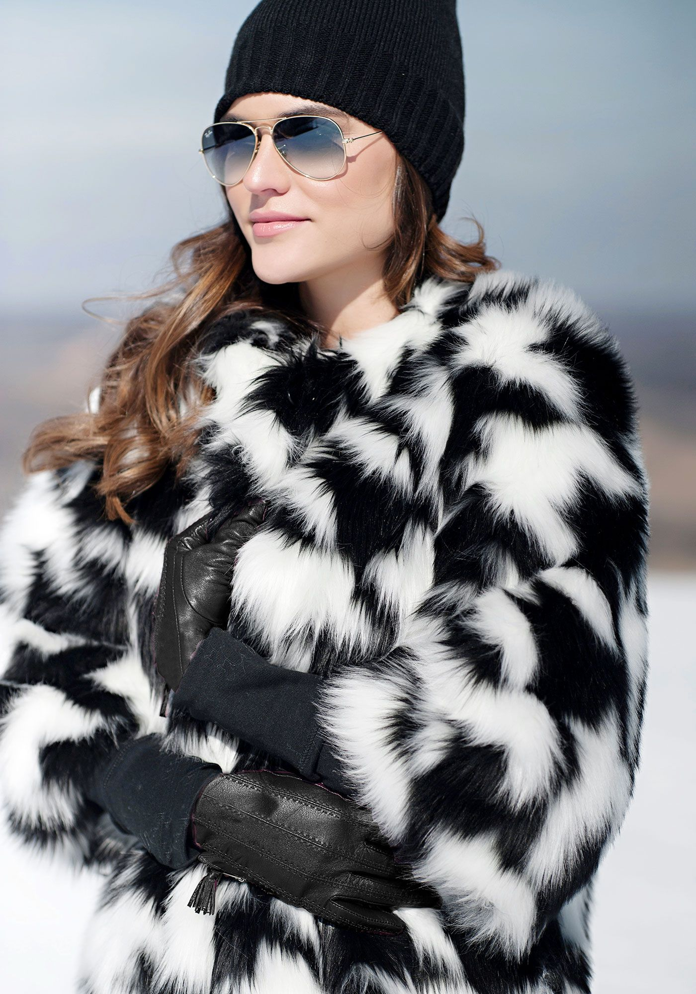 Black & White Fox Houndstooth Faux Fur Coat | White fox, Fur coat ...