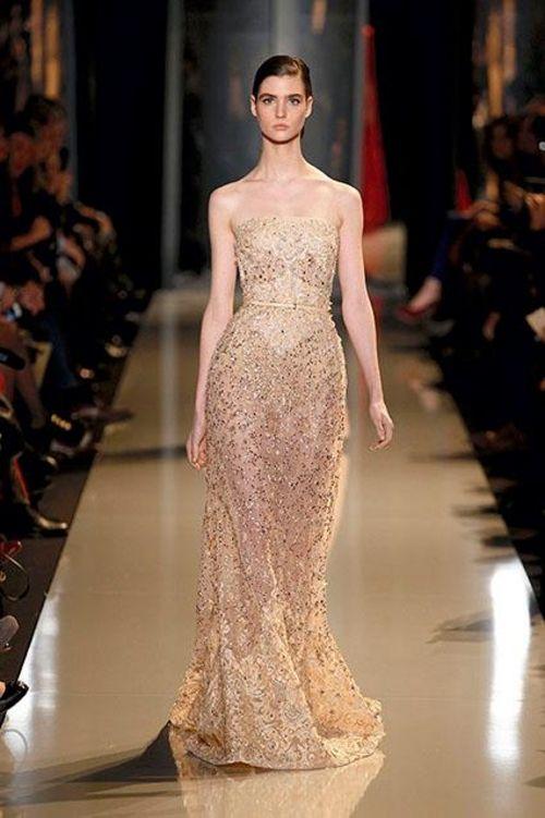 Vestido de gala elegante en color champagne - Foto Elie Saab 2013 ...