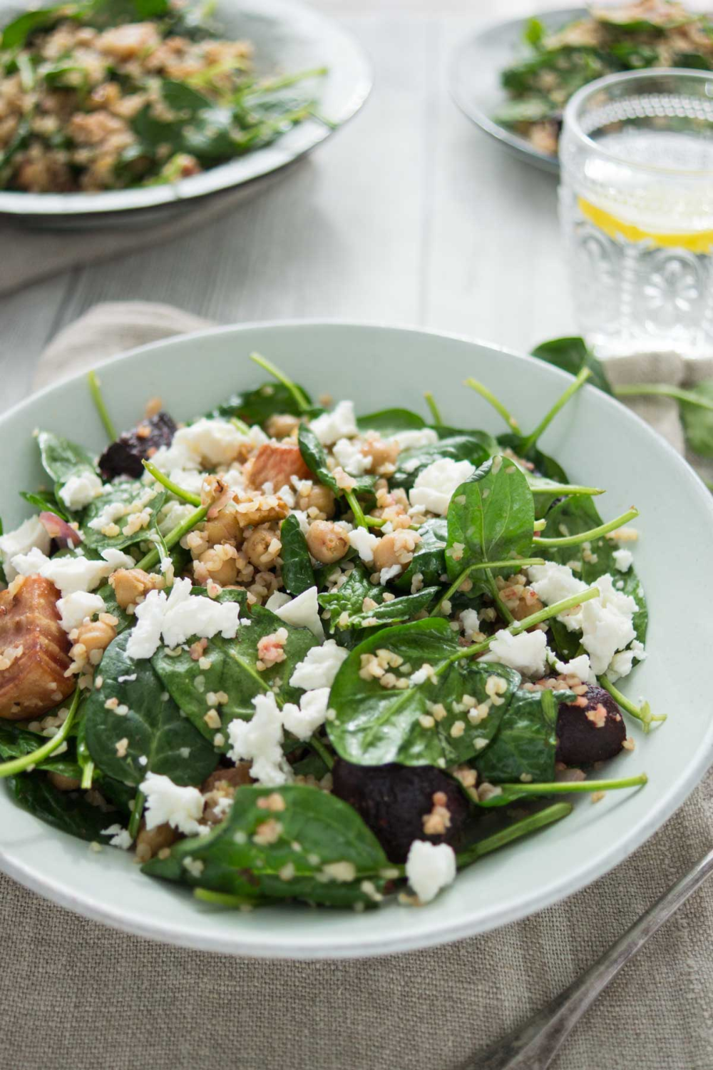 Spinach Salad with Roasted Beets, Chickpeas, Bulgur and Feta