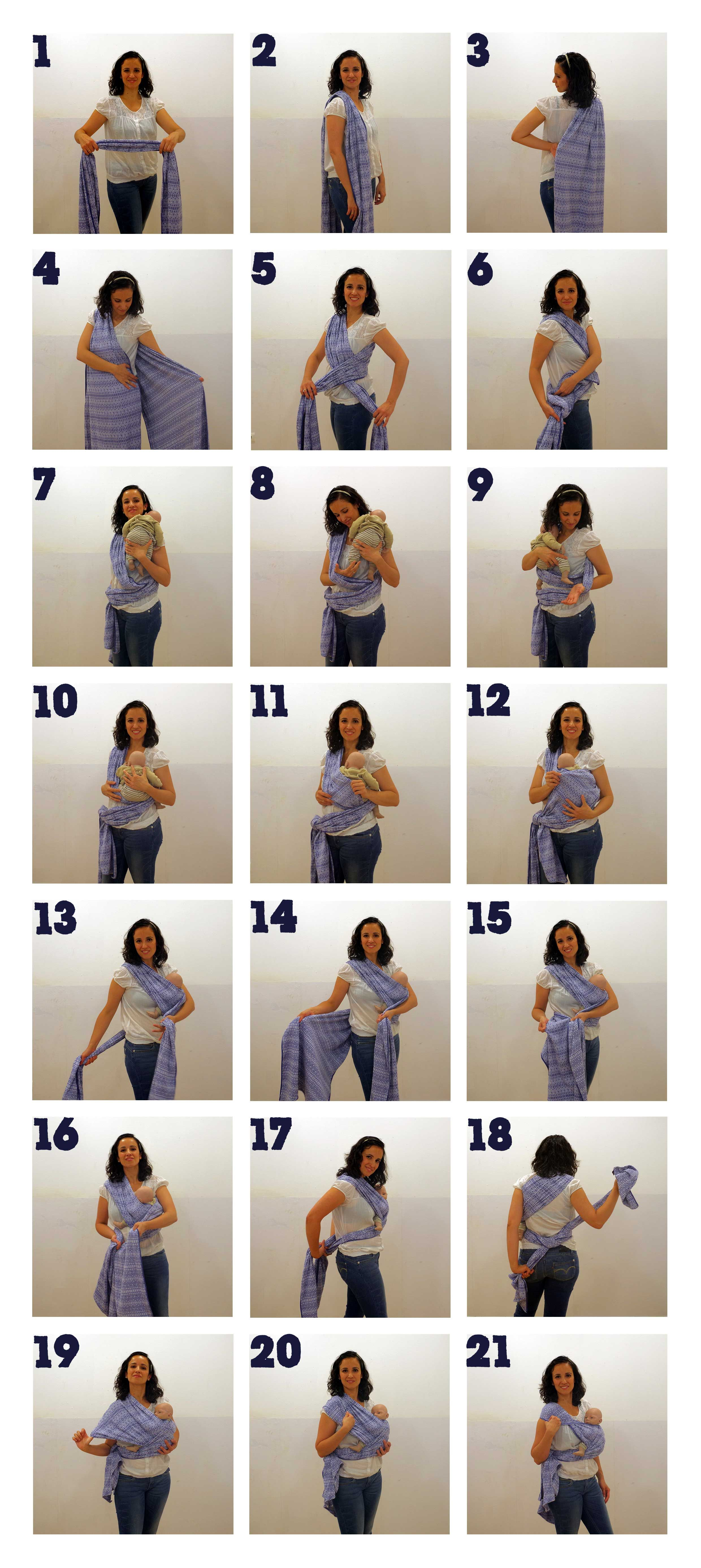 How to Hip Cross Carry - especially like how she folds her shoulder pass at the end--always have trouble getting it to lay right and comfortably with one-shoulder carries like this!