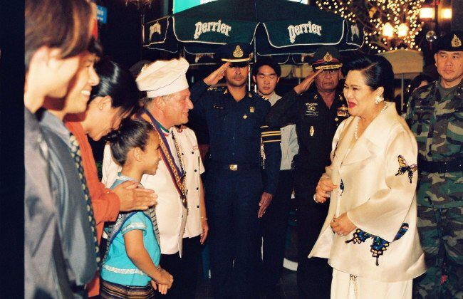 On the occasion of Her Majesty Queen Sirikit dining with His Serene Highness Prince Bhisatej Rajani at Piccola Roma Palace on Thursday February 3rd, 2000. Her Majesty came to do the grand opening for Piccola Roma Palace.